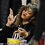 The singer looking sporty at another basketball game at Staples Center.