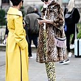 Style Your Leopard-Print Coat With: Animal-Print Pants, Cowboy Boots, and a Statement Bag