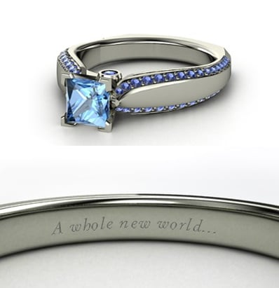 Sierra from Heck Yeah Disney Merch used Gemvara to create these Disney-princess-inspired rings — and they are spot-on, right down to the personalized engraving. You can buy Jasmine's ring here!