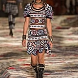 We can definitely see her in an intricately embroidered cap-sleeve design like this, but she'd nix the edgy jewels for hoops and the studded moto boots for sophisticated pumps.  Alexander McQueen Spring 2017.