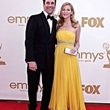Jon Hamm posed next to his girlfriend Jennifer Westfeldt.