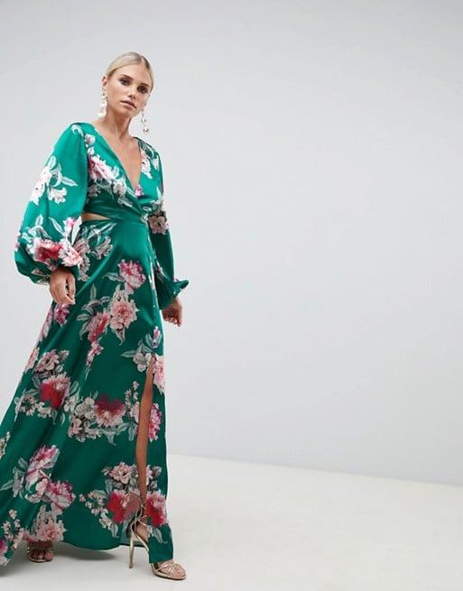 60b28fe6a6 ASOS Design Long Sleeve Floral Print Cutout Wrap Maxi Dress | Fall ...