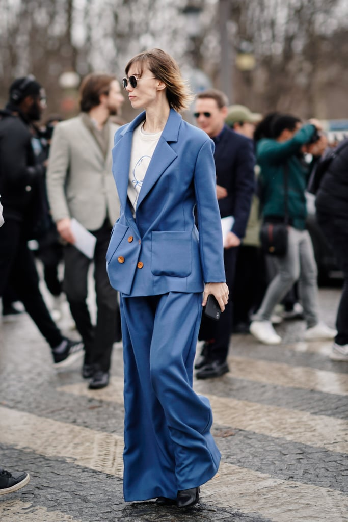 For a look that means business, style a blue oversize blazer with matching trousers.
