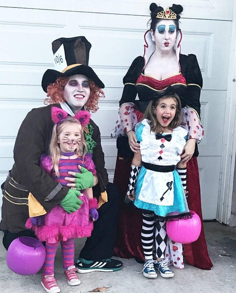 Alice In Wonderland Halloween Costume Family.Alice In Wonderland Family Of 4 Halloween Costumes Popsugar