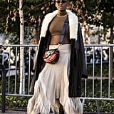 Style It With a Fuzzy Coat and Crop Top