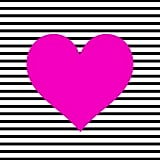 Black and White Stripe Heart