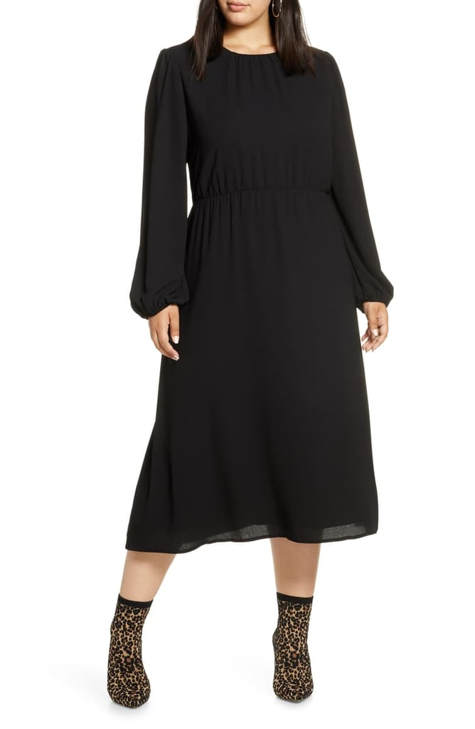 Halogen Long-Sleeve Midi Dress