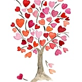 Bring some love into your child's space with the heart tree watercolor painting ($21).