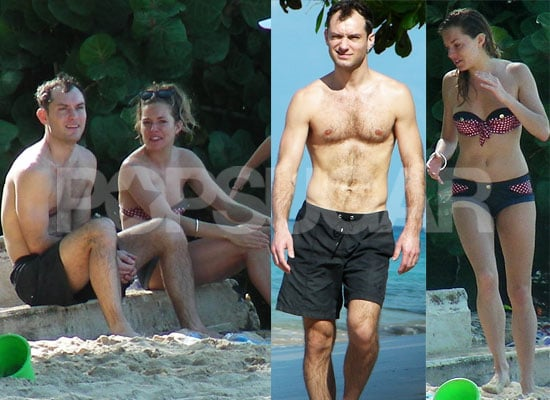Photos of Shirtless Jude Law and Bikini Clad Sienna Miller on Holiday / Vacation in Barbados