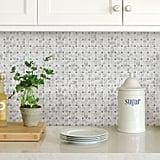 Basketweave Carrara Peel and Stick Mosaic Tile