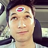 Harry Shum got goofy with his sticker.  Source: Instagram user harryshum