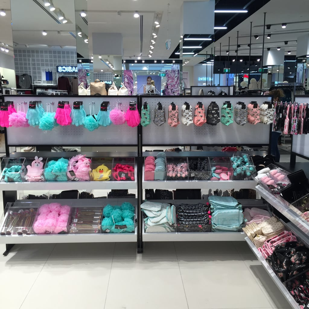 Here you'll find loofahs, sponges, socks, cosmetic bags, brushes and more