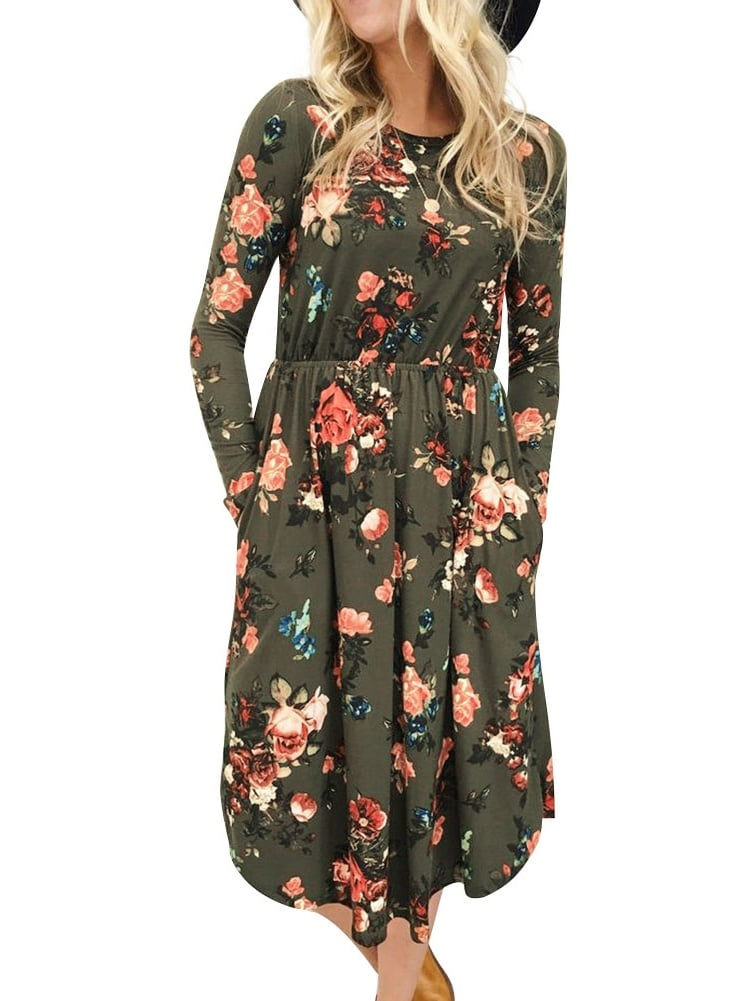 Nlife Long Sleeve Floral Print Midi Dress | Best Cheap