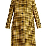 Bottega Veneta Plaid A-Line Wool Coat