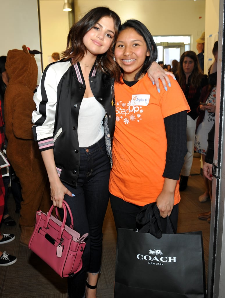 Selena Changed Into the Brand's Reversible Bomber
