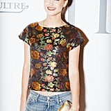 Kyleigh Kuhn showed her flower power in a botanical printed top at W's cocktail party.