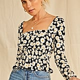 Forever 21 Floral Print Square Neck Top