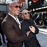Dwayne Johnson and Jason Statham celebrated at the LA premiere of Hobbs and Shaw in July 2019.