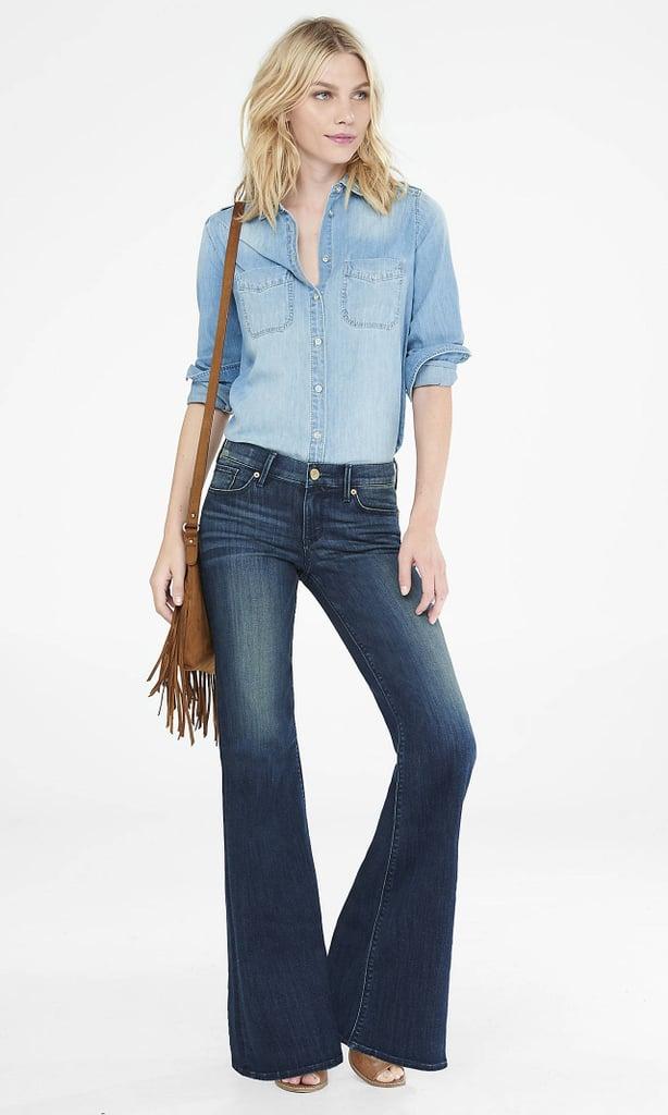 Express Dark Blue Faded Mid Rise Wide Leg Flare Jean ($70)