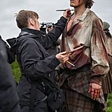 Heughan getting his Culloden wounds touched up during season three.
