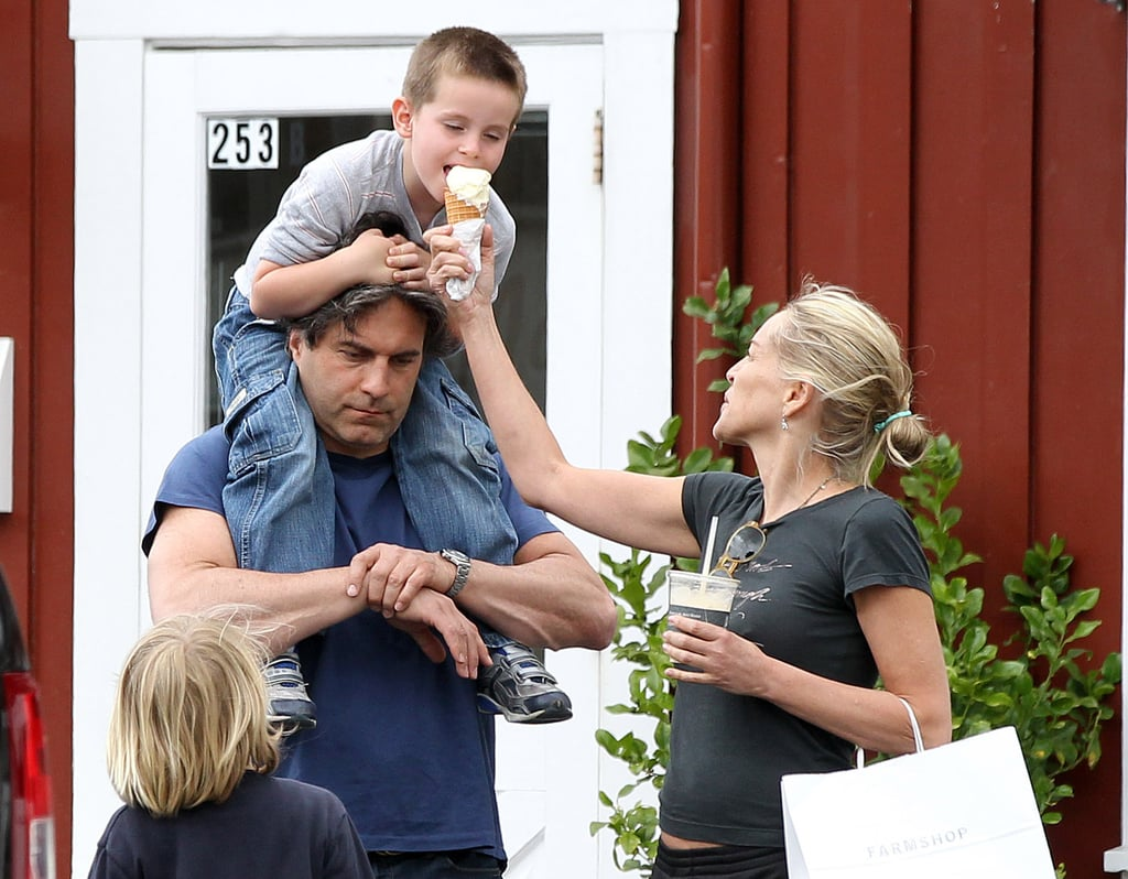 Sharon Stone indulged in ice cream with sons Laird and Quinn Stone in LA.