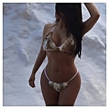 Kim posed in a fur bikini (in the snow!) in January 2015.