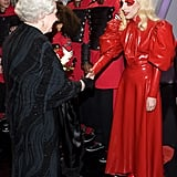 Lady Gaga in Red Latex Dress in 2009