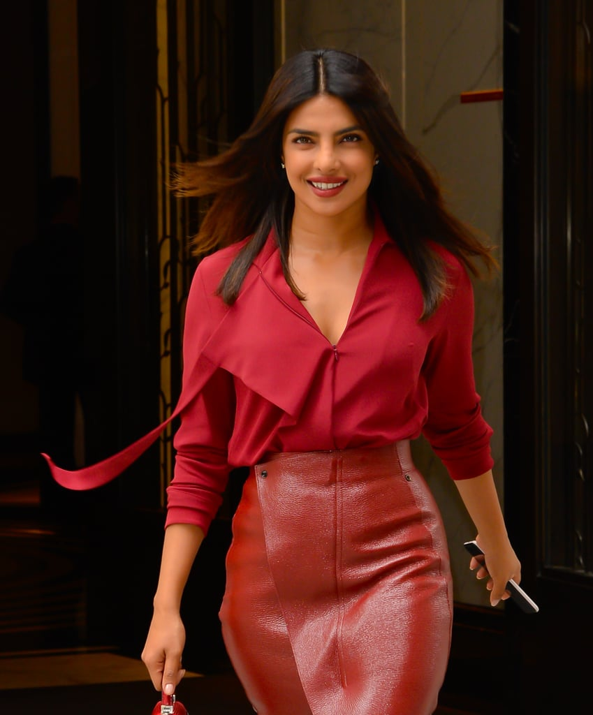 Priyanka Chopra Red Leather Skirt 2018