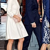 At Prince George's christening, Pippa opted for a retro look and cream color with this two-piece from Suzannah — both could incorporated in a wedding gown, but it's unlikely the bride-to-be will go for quite so high a neckline.
