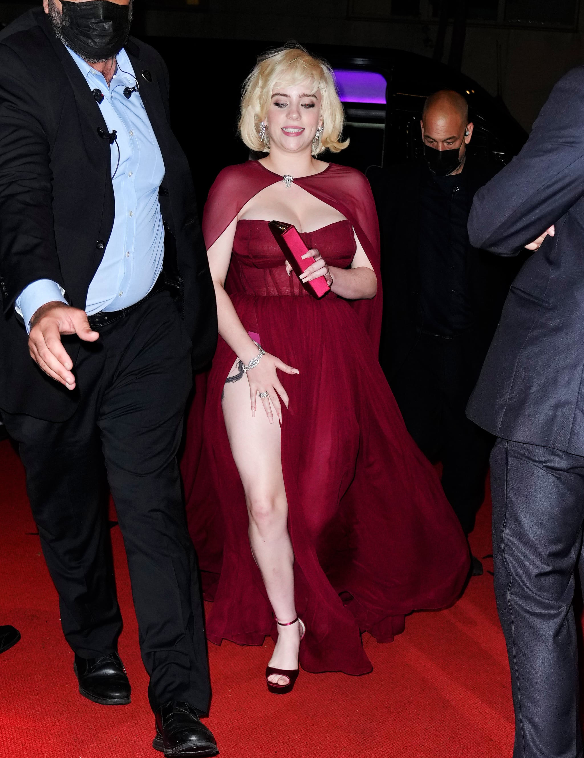 Billie Eilish's Red Oscar de la Renta Met Gala Indoor Dress | POPSUGAR  Fashion