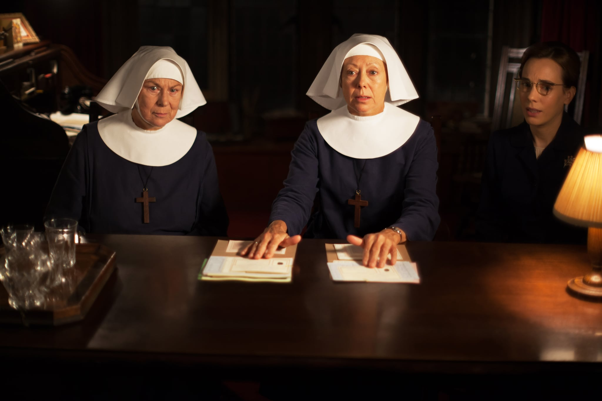 CALL THE MIDWIFE, l-r: Pam Ferris, Jenny Agutter, Laura Main, (Season 4, Episode 7, aired March 1, 2015). ph: Laurence Cendrowicz/PBS/courtesy Everett Collection