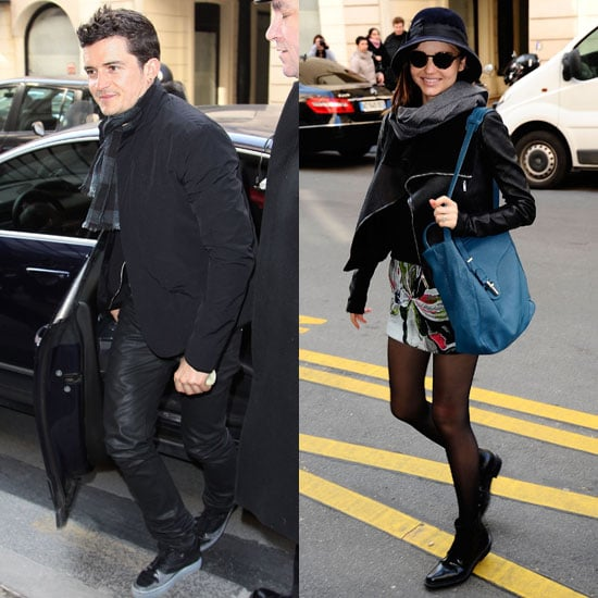 Pictures of Orlando Bloom and Miranda Kerr in Paris During Fall Fashion Week