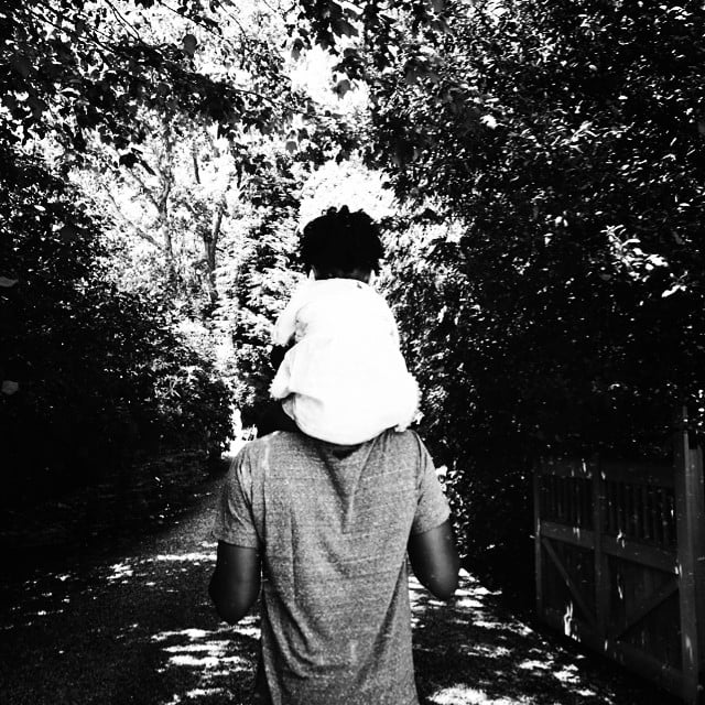 "Beyoncé shared a snapshot of Blue hitching a ride on Jay Z's shoulders, simply saying, ""Happy Happy Father's Day."" Source: Instagram user beyonce"