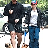 Anna Faris and Chris Pratt took their three dogs for a walk in LA.