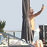 Leonardo DiCaprio went shirtless to party on a yacht in Cannes.