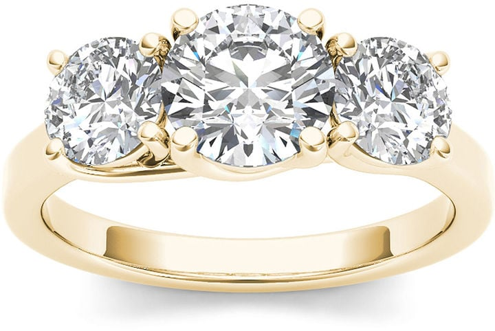 JCPenney Yellow Gold 3-Stone Engagement Ring