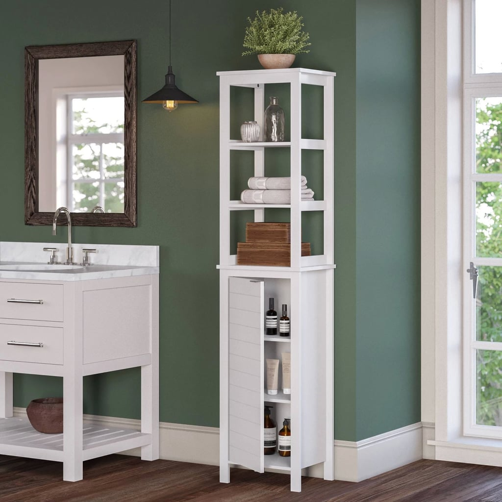 Picture of: Tall Linen Cabinet With Open Shelves Best Target Bathroom Furniture With Storage Popsugar Home Australia Photo 25