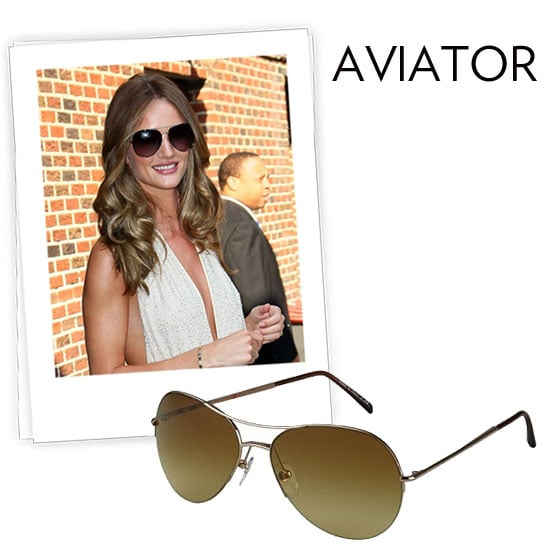 Why we love them: Aviators are a classic. They're ultra-flattering and they're both glam and easy all at once, just as Rosie Huntington-Whiteley proves in her own pair. How to wear them: Don't overthink it — these go well with anything. With a smaller face, look for a smaller set of frames that maintain the silhouette. Vice versa, balance out a larger or wider face shape with a larger frame.  Burbery Metal Aviator Sunglasses ($220)