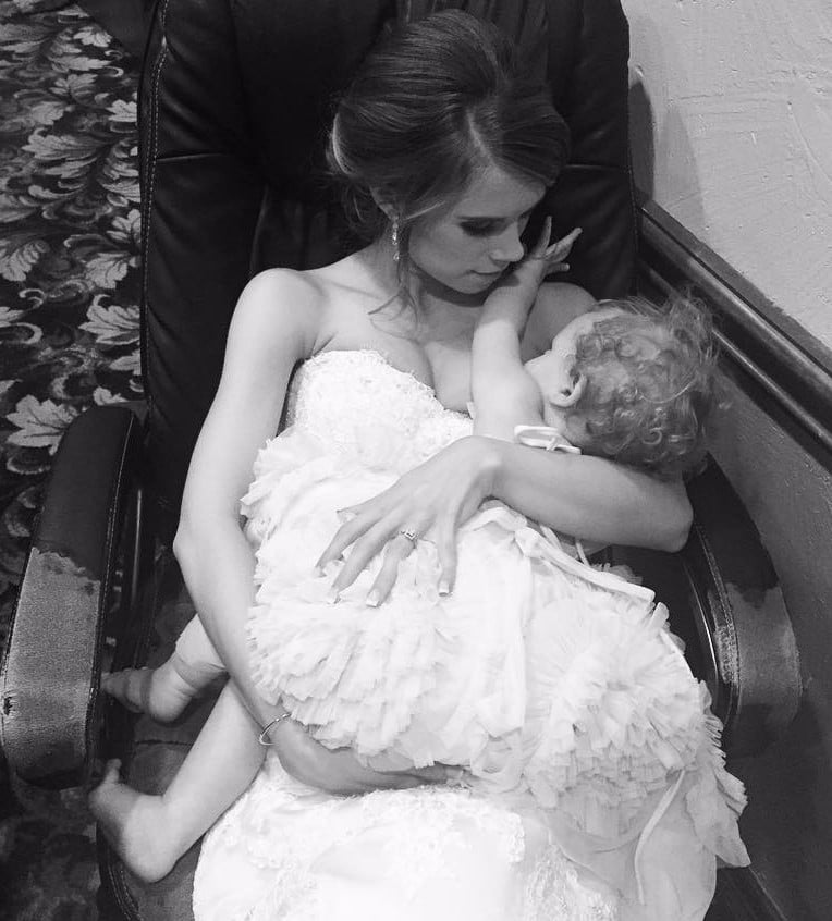 Brides Breastfeeding on Their Wedding Days