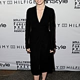 Jessica Chastain in a clean black dress at the InStyle party at the Toronto Film Festival.