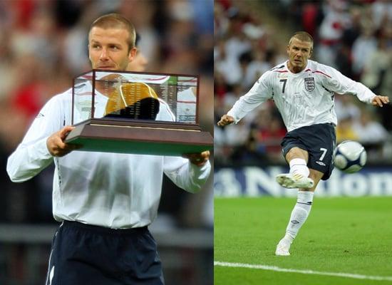 David Beckham Presented Golden Cap By Sir Bobby Charlton at England vs USA Match