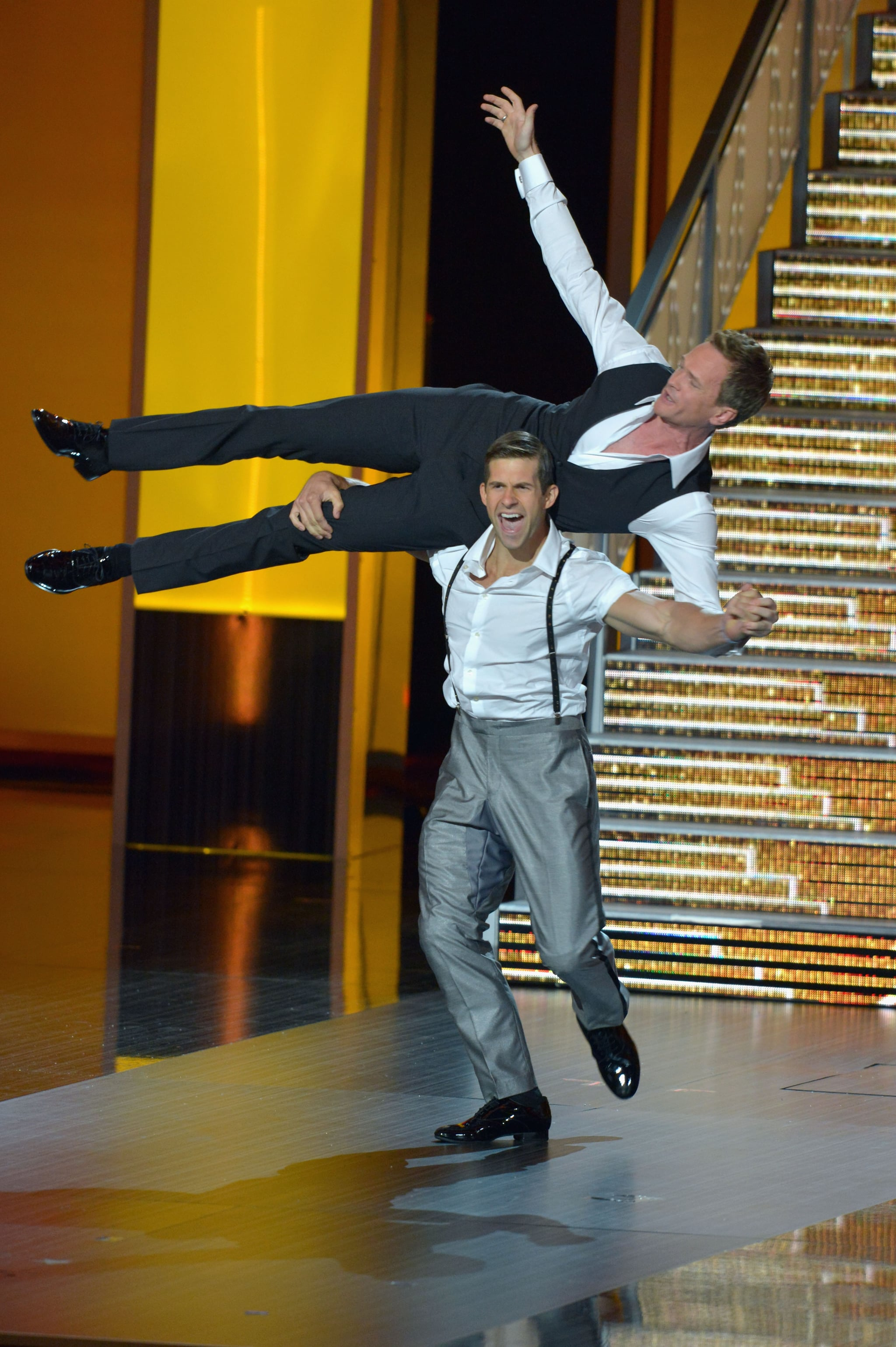 Neil Patrick Harris got a lift during his midshow performance.