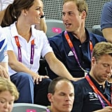 Kate wore her hair in a relaxed ponytail for the cycling.
