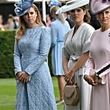 Earlier that day, they both attended Royal Ascot alongside other members of the royal family. For the occasion, Eugenie wore a sophisticated ivory wrap dress cinched at the waist with a bow. Beatrice kept things simple with a pastel blue dress designed by Claire Mischevani.