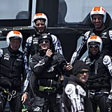 Tom Cruise tried on some of the team's gear. Source: Chris Cameron/Emirates Team New Zealand