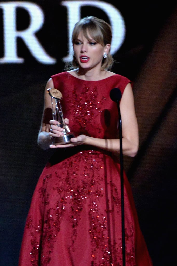 Taylor Swift tearfully accepted her pinnacle award.