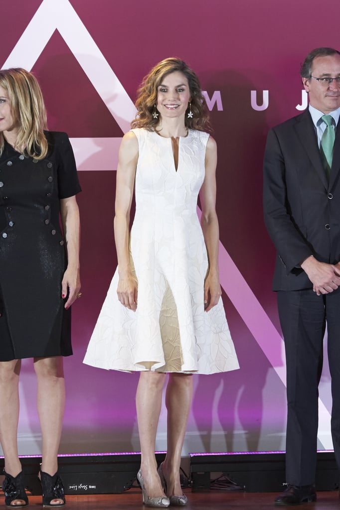 Queen Letizia S White Embroidered Dress July 2016