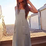 UO Melanie Linen Babydoll Midi Dress