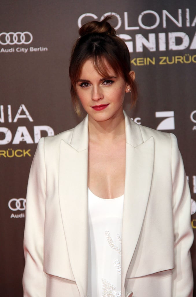 Emma Watson hit the red carpet in Berlin on Friday for the premiere of her latest film, Colonia. The 25-year-old actress looked chic and sophisticated in an all-white outfit and new side-swept bangs, and posed for photos with her costar Daniel Brühl; in the thriller, which was released in Germany back in September, Daniel and Emma play a young couple that becomes involved in a Chilean military revolt.  We last saw Emma out and about when she hosted a London screening for the fashion documentary The True Cost in December, but since then, she's started a feminist book club and been appointed as a visiting fellow at Oxford University along with Benedict Cumberbatch. Keep reading to see photos from Emma's latest appearance across the pond.