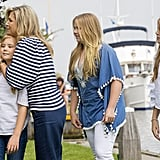Queen Máxima embraced her youngest child during a Summer photo call in 2017.